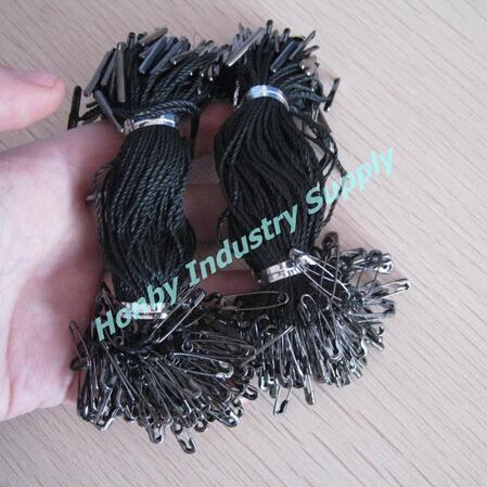 1000 pezzi per confezione 9,5 cm Bolipin Hang Tag Gunmetal spilla da balia con cordino nero
