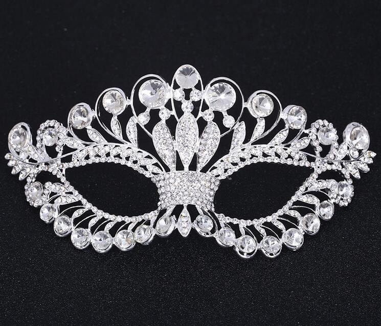 Masquerade Masks Black and Silver Venetian Mask with Crystals on Eyes