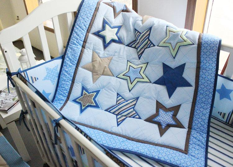 Embroidery stars 7Pcs Baby bedding set cotton Crib bedding set Quilt Bumper Mattress Cover bedskirt Cot bedding set