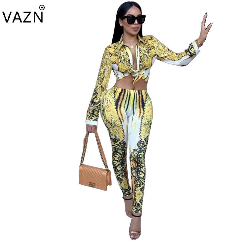 VAZN 2017 Sexy mode design Bodycon Overall Aushöhlen 2 Stück Druckoverall Volle Hülse Beiläufiger Langer Overall K9124 q1118