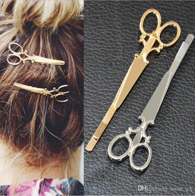 Fajna Prosta Głowy Biżuteria Włosy Pin Złoto Nożyczki Nożyce Klip Do Włosów Tiara Barrettes Akcesoria Strzelona Dziewczyna Kobiety