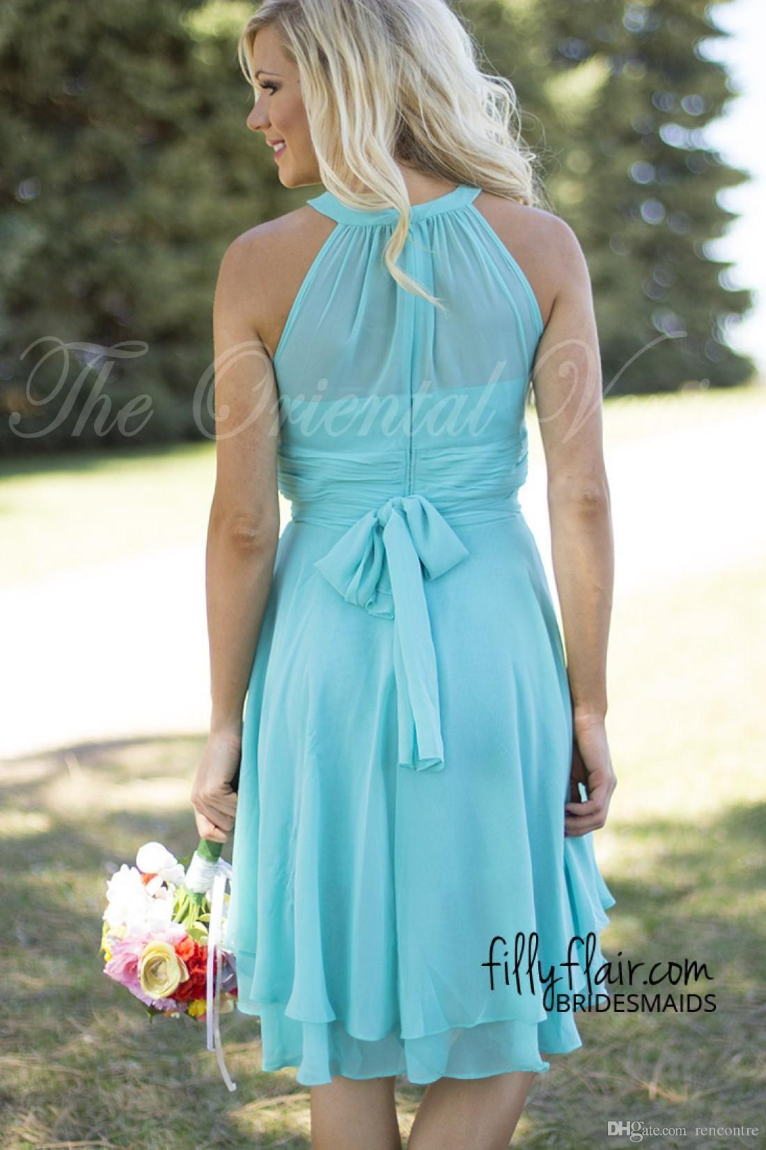2016 Cheap Country Beach Bridesmaid Dresses Chiffon Royal Blue Coral ...