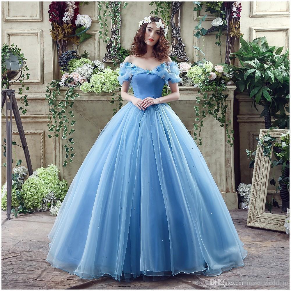 Blue Cinderella Ball Gown Wedding Dresses 3d Appliqued Off Shoulder ...