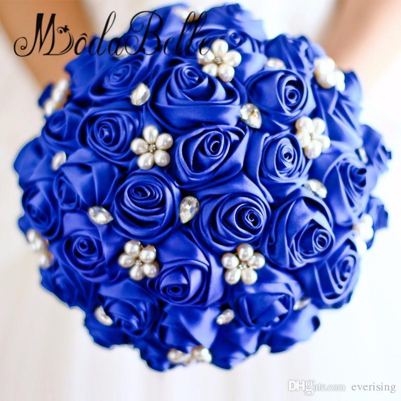 Red Rose flower bridal brooch bouquet Wedding Bride 's Jewelry crystal Pearl Rhinestone Cloth fabric Bouquets