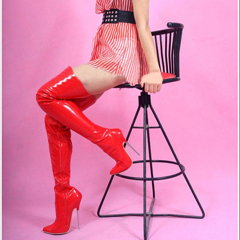 16CM haute taille bottes de sexe des femmes talons aiguilles bottes au-dessus du genou talon aiguille en métal n ° 718-1