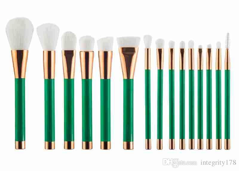 15 pçsset escova de maquiagem, escova branca com cabo verde, escova rosa com cabo de ouro, pincel roxo com cabo preto, 100 pçs / lote