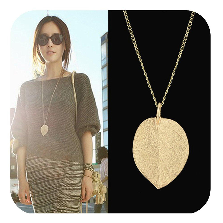 GERMIN Bisutería Collar de aleación de oro color de la hoja de diseño colgante para mujeres con la bolsa de la joyería