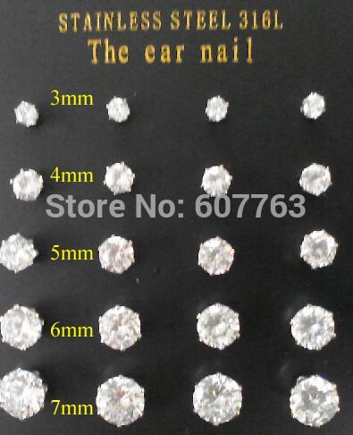 Orecchini in acciaio inossidabile 316L 6 punte scintillanti da 3mm-7mm 0.5ct-1.0ct Orecchini pendenti in zirconio trasparente CZ (10pairs / lot, 2prs / size)