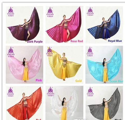 11 colori per le ali di danza del ventre scelte Ali angolari Egitto Egitto Costume di danza del ventre Ali di Iside Accessori per l'abbigliamento da ballo (senza stecca)