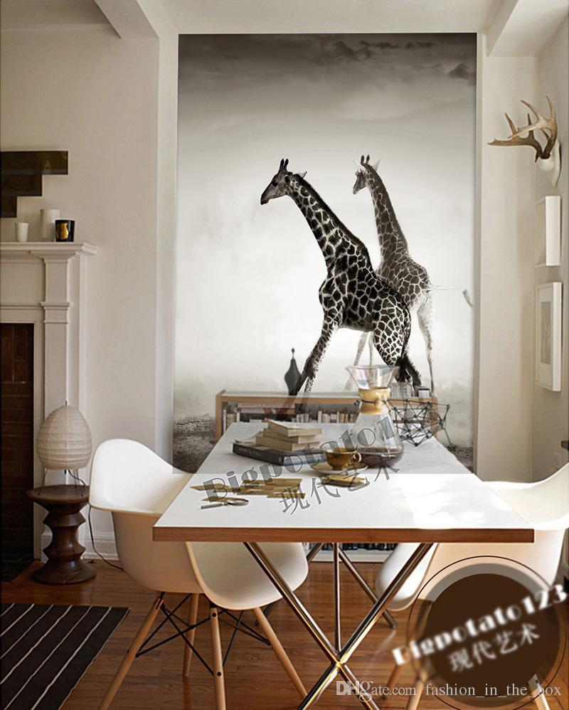 Papier Peint Pour Bureau acheter papier peint animal personnalisé pour les murs 3d giraffe photo  papier peint paysage mural chambre décor corridor chambre bureau revêtement