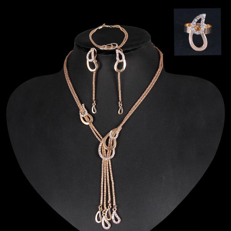Luxe 18K Gold Bijoux Ensemble de bijoux Collier Boucles d'oreilles Bracelet Bague Bague pour mariage Bijoux de mariée Ca160