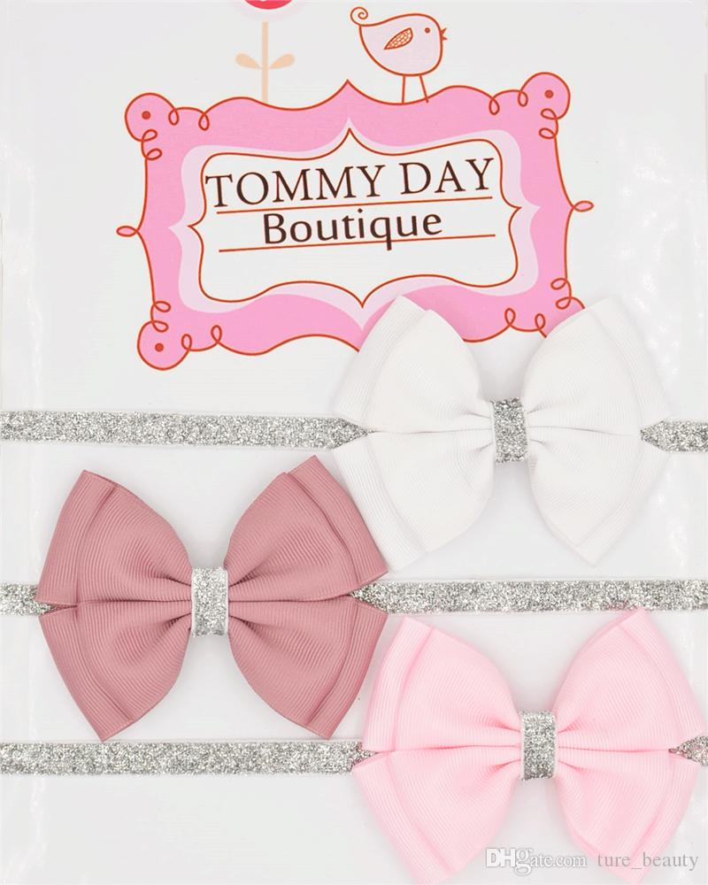 """22 Colore Nuovo Baby Hair Bow 4 """"Flower Headband Silver Ribbon Capel Band Handmade Accessori per capelli fai da te per bambini NEW BORN Toddler 50pcs /"""