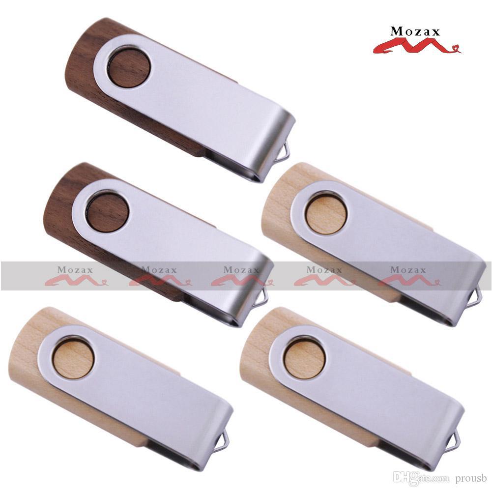 Free Customized Laser Engraved Logo 10PCS 1GB/2GB/4GB/8GB/16GB Swivel Wood USB Drive 2.0 Memory Flash Pendrive Stick