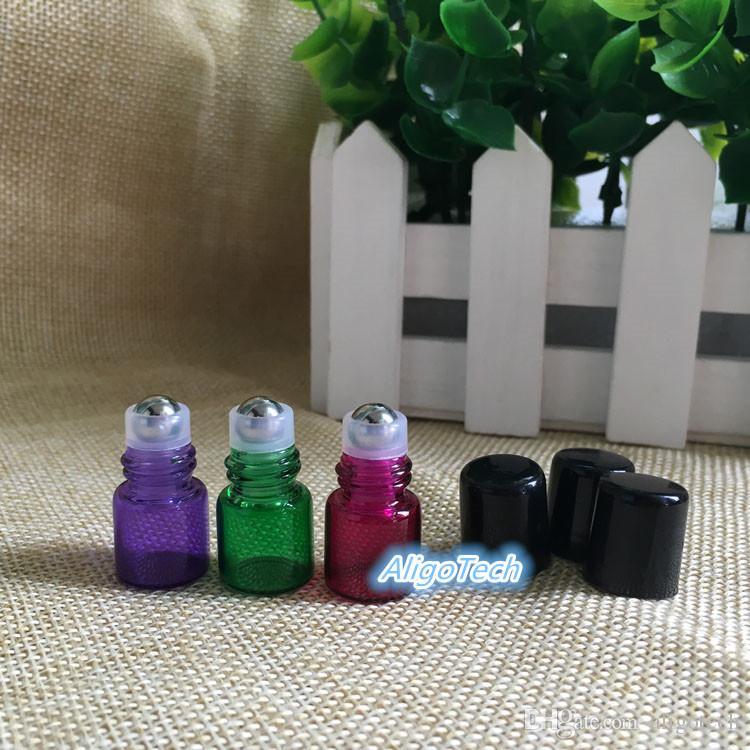 2019 Colorful 1ml Small Glass Roller Bottles Mini Tube Glass Roll-On Fragrance Perfume Bottles Refillable & Portable Perfume Roll On Bottle