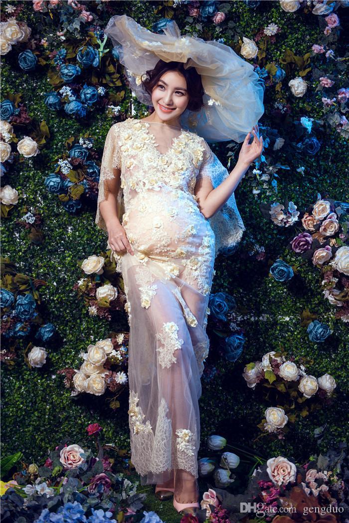 Neue Mutterschaft Frauen Fotografie Requisiten Maxi Mutterschaft Kleid Schwangere Spitzenkleid Fancy Shooting Foto Schwangere Kleid kostenloser Versand