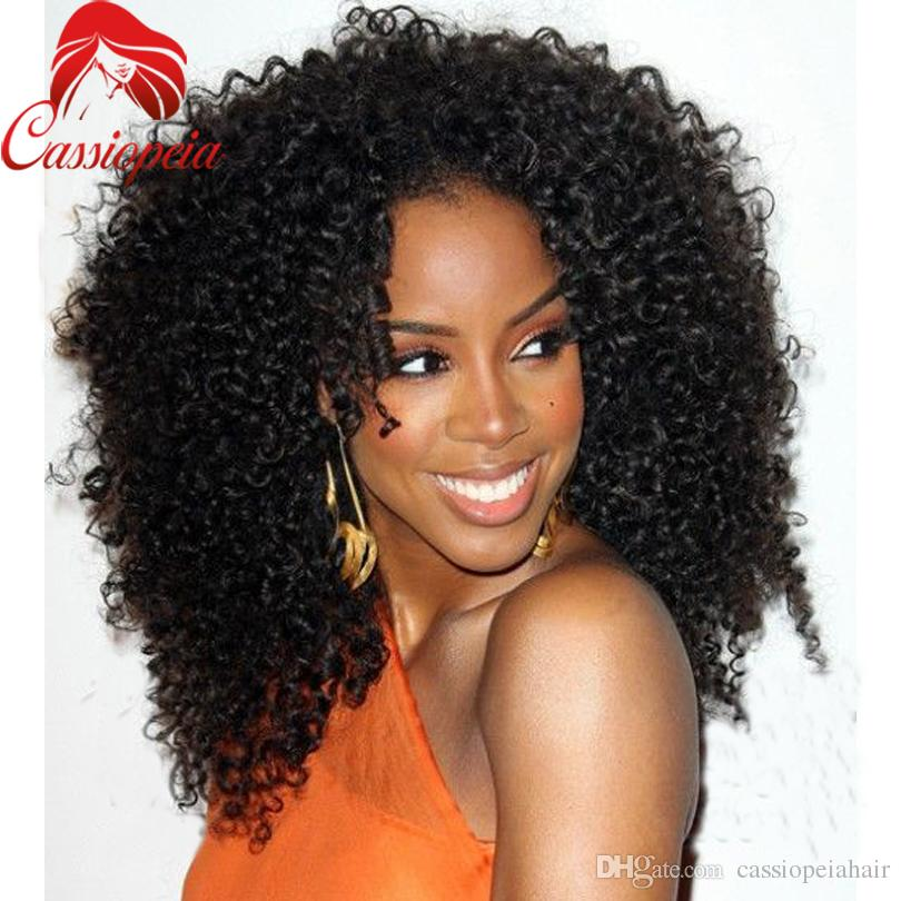 Afro Curly Human Hair Full Lace Wigs For Black Women Indian Remy Virgin Hair Lace Front Wigs Thick and Soft Bouncy Curly Wigs