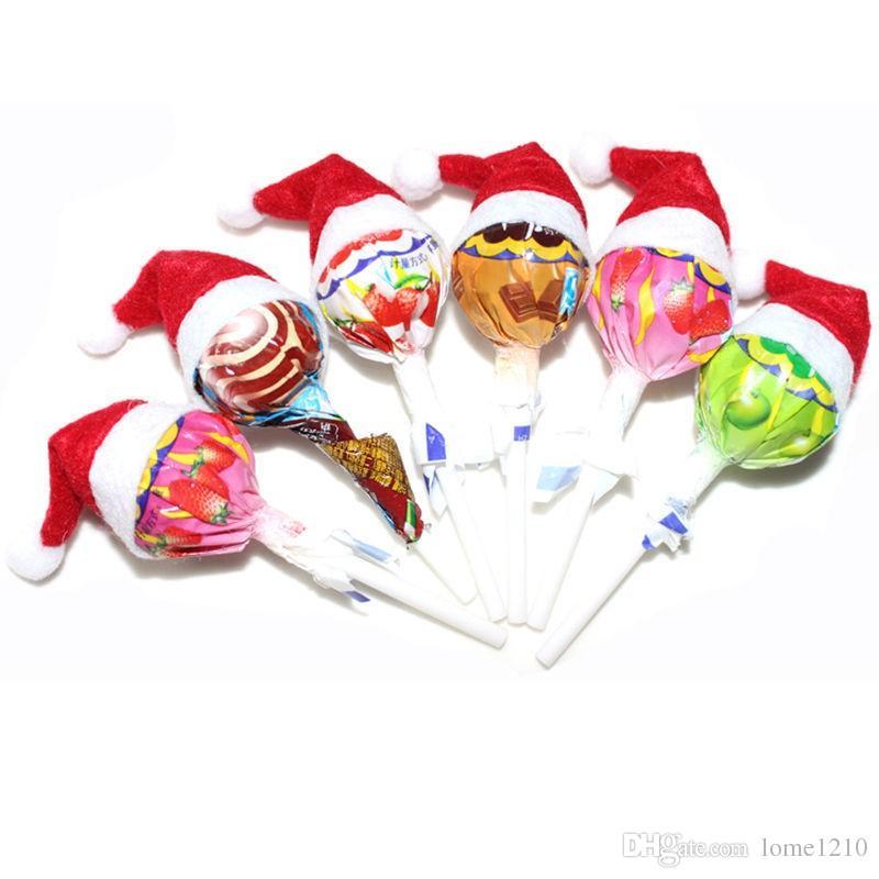 2016 Yeni Varış Mini Noel Baba Şapka Noel Noel Tatil Lolipop En Topper Dekor Sıcak