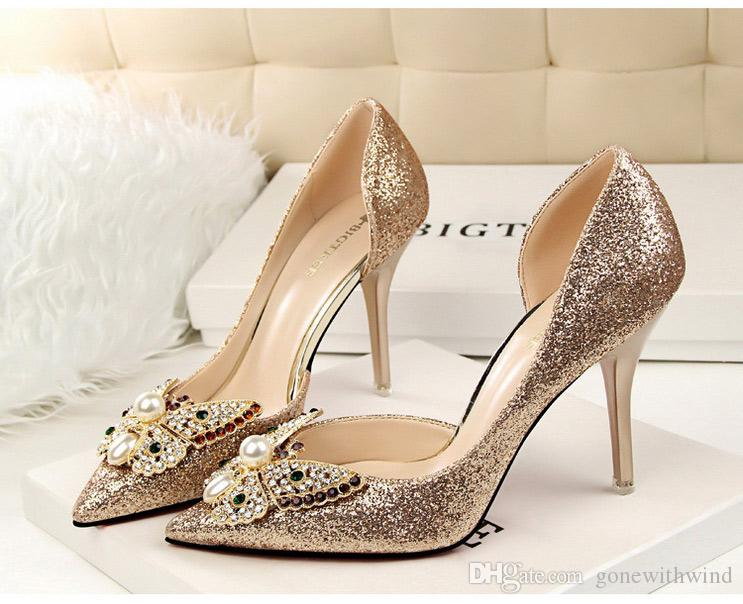 Silver Gold Wedding Shoes Crystal Butterfly Bridal Sequins Pump Bridesmaid Popular Prom