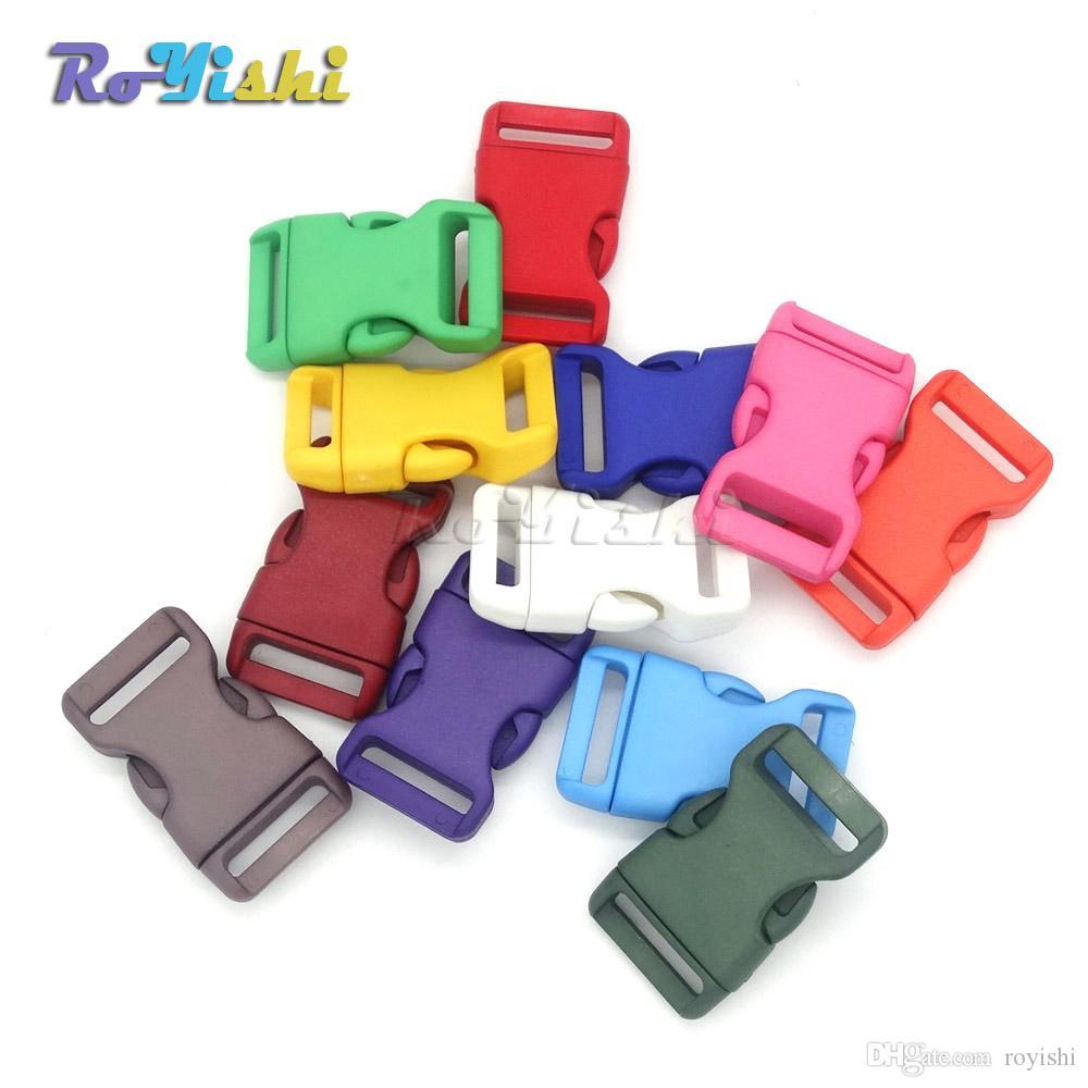 50pcs / lot 1 '' (25 mm) plástico colorido contorneado lateral liberación hebillas para pulseras / Backback de Paracord