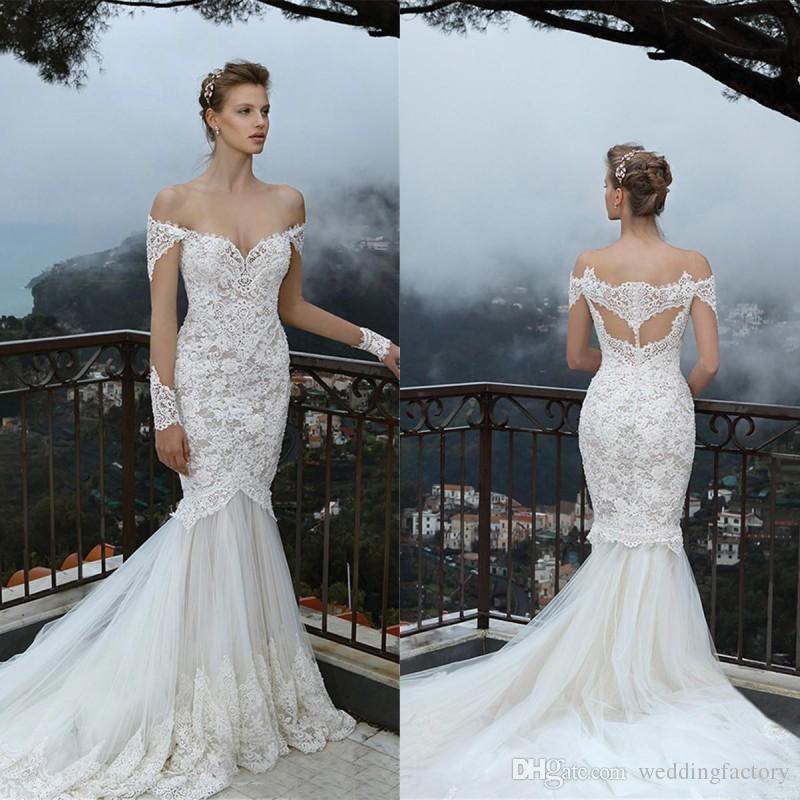 Fantastiska sjöjungfru bröllopsklänningar från axeln illusion appliqued långa ärmar spets tulle brudklänningar skräddarsydda hög kvalitet