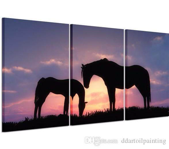 2016 New Unframed 3P lanscape Two Horses Modern Wall Decor Canvas Print oil Painting For Home Decorate Free Shipping