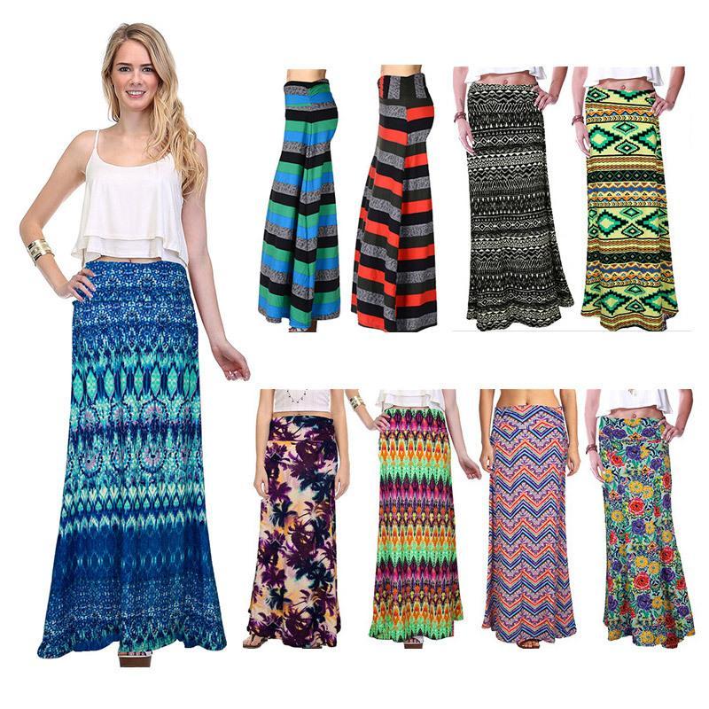 Yeni Marka Kadınlar Çiçek Baskı Kat-Uzunluk Elbise Elastik Bel Uzun Etekler kadınlar için 18 stilleri Ücretsiz Kargo