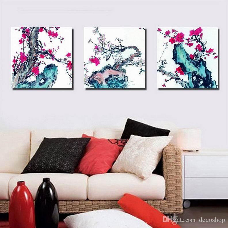 자두 꽃 Wintersweet 꽃 그림 캔버스에 Giclee 인쇄 홈 장식 벽 예술 Set30330