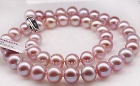 Großhandel 9-10mmnatural Südsee lila Perlenkette 22 Zoll 14K Gold Verschluss
