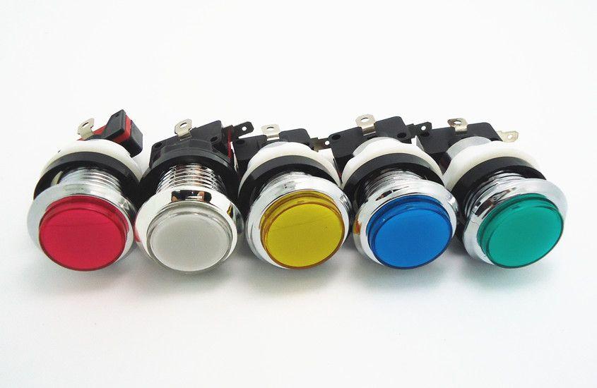 실버 도금 조명이있는 버튼 12 개 아케이드 게임기 용 마이크로 스위치가있는 푸시 버튼 조명, 선택을위한 5 가지 색상