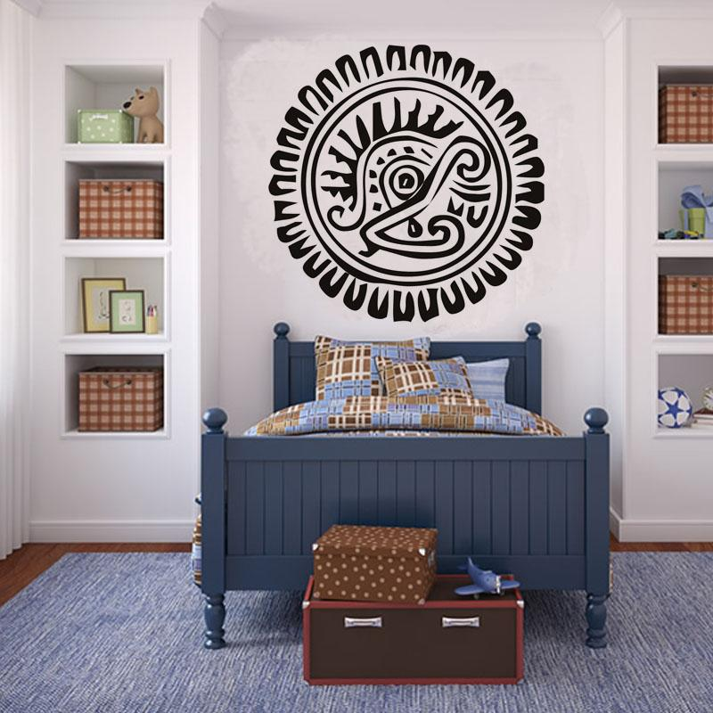 Hollow Out Aztec Sunflower Centrepiece Circle Wall Stickers Vinyl Mandala Sticker Bedroom Home Decoration Wall Paper