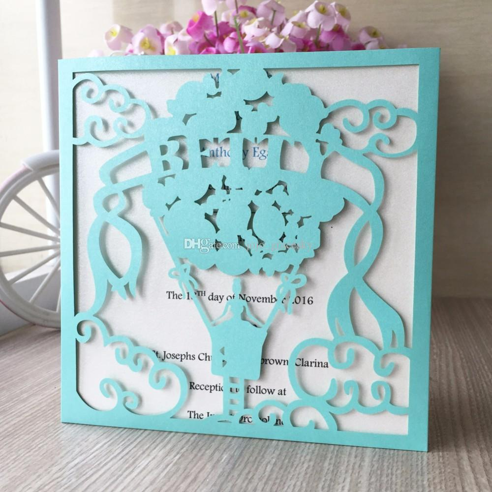 free shipping 50pcs/lot laser cut Birthday wedding invitations cards Princess in balloon design Name customized party RSVP cards supplies