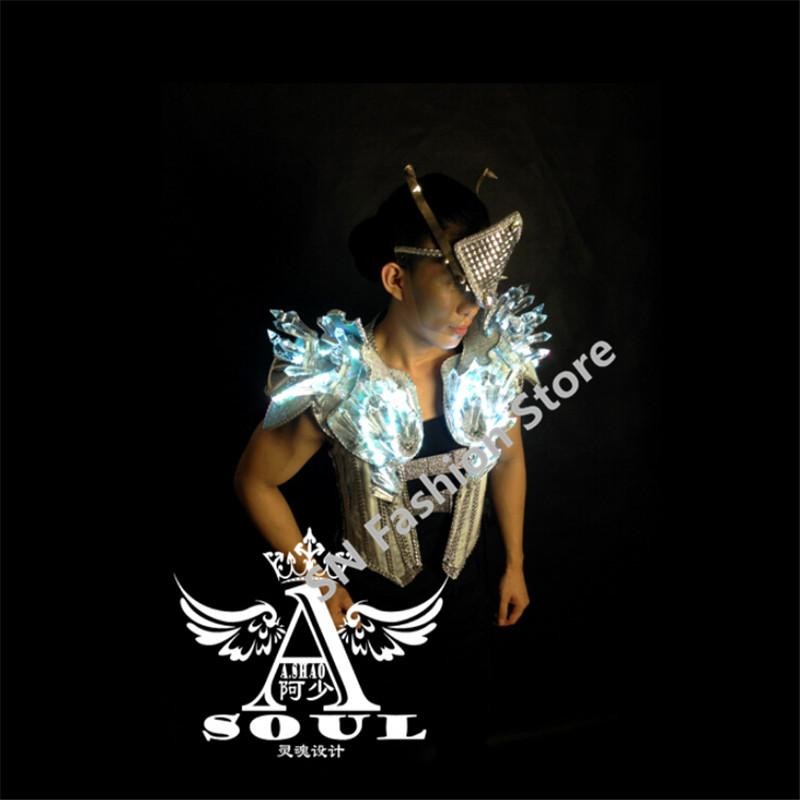 WX14 Cosplay Singer Silver mirror crystal clothes dance ballroom led light costumes bar party dj disco colorful wears catwalk with mask