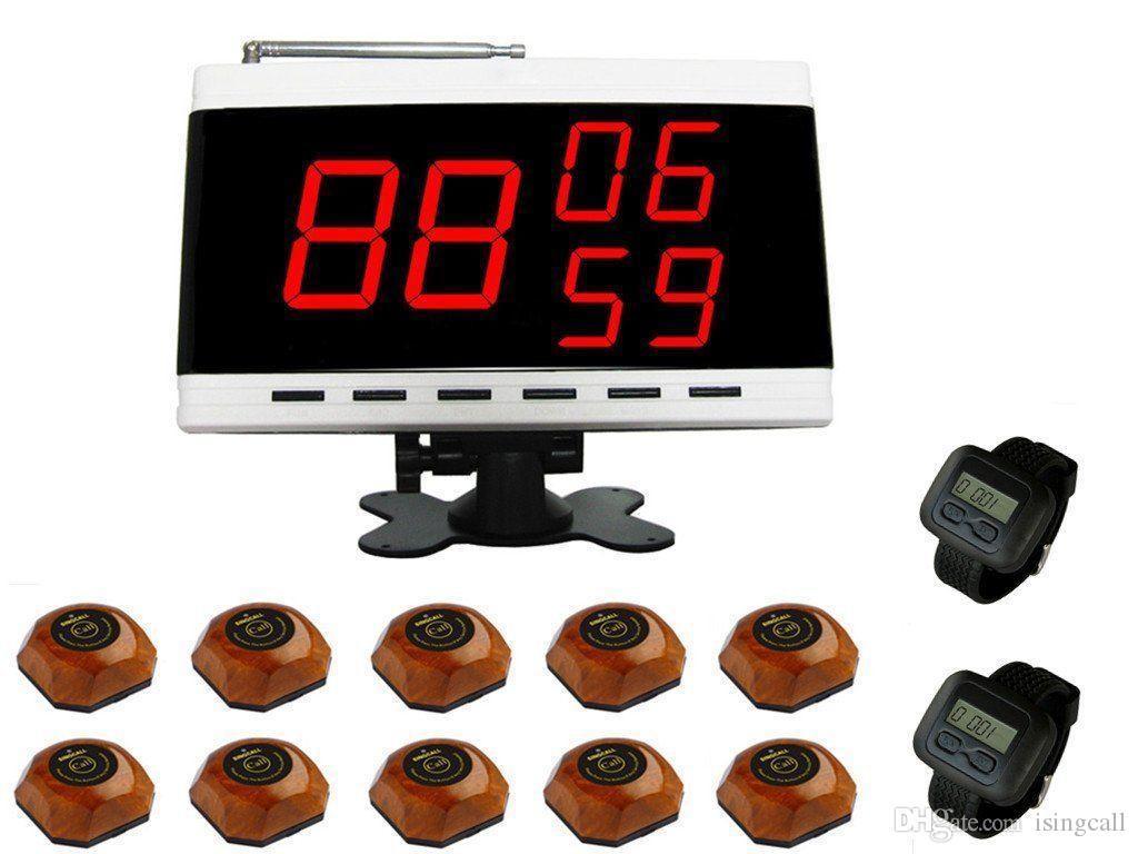 SINGCALL Wireless Kellner Service Calling Systems 10 Glocken 2 Uhren, 1 Bildschirm für Hotel, Restaurant