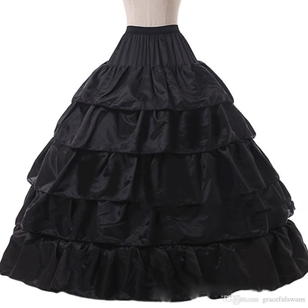 4 Hoops 5 Layers Ruffles Lolita Petticoat for Girls Wedding Accessories Underskirt for Ball Gown Dresses Quinceanera Dress Crinoline