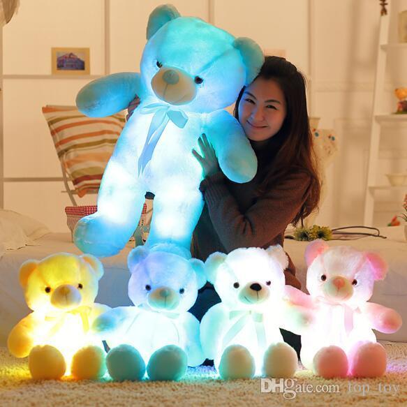 30cm 50 centimetri Colorful Glowing Orsetto luminoso peluche Giocattoli Kawaii Light Up LED Teddy Bear Bambola di pezza Natale dei capretti Giocattoli CCA8079 30pcs