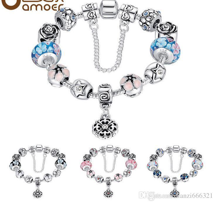 Européenne 925 Argent Charmes Bracelet DIY Avec Perle De Fleur Femmes De Noël Bijoux uropean Style Argent Plaqué Perle Bracelet HJ111