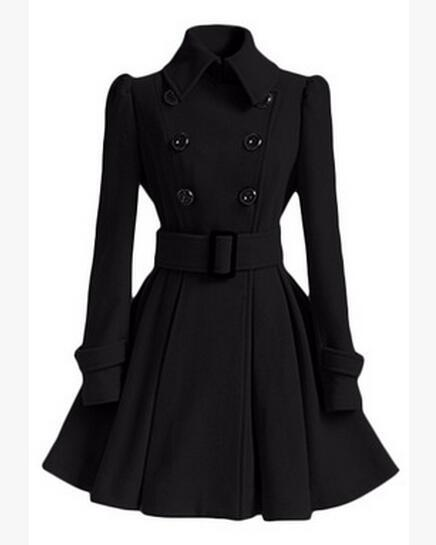 Women Trench Coat 2016 New Long Woolen Coat Dress Fashion Slim Double-Breasted lapel Luxury Long Winter Warm Wool Jacket Outerwear