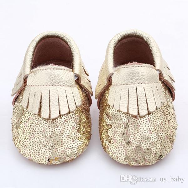 28Pairs Baby Fransen Pailletten Moccs 10 Farben wählen Säugling Junge Mädchen Gold gelb Silber Mokassins weichen Leder Moccs Kleinkind Booties niedlichen Schuhe