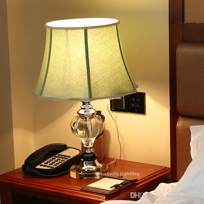 Luxary classic european bedroom reading lamp foyer American crystal desk lamp glass tall table lamp bedside hotel table light