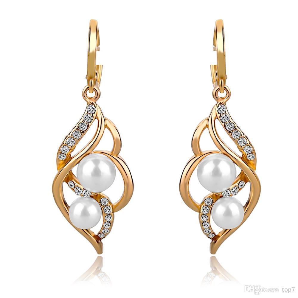 Pendientes Doppel Simulierte Perle Ohrringe Für Frauen Kristall Gold Ohrringe Imitiert Diamant-Schmuck Brincos SER140229