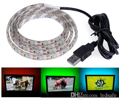 DC 5V USB LED Flexible Strip Light Lamp 100cm 1m SMD 2835 60leds/m Ribbon Tape for LCD TV Background Lighting Decoration Rope White CE ROSH