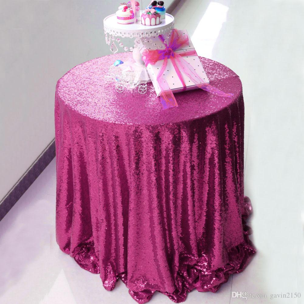 Free Shipping High Quality 120inch Fuchsia Sequin Tablecloth Shiny Table Cover For Wedding Banquet Party Home Decoration