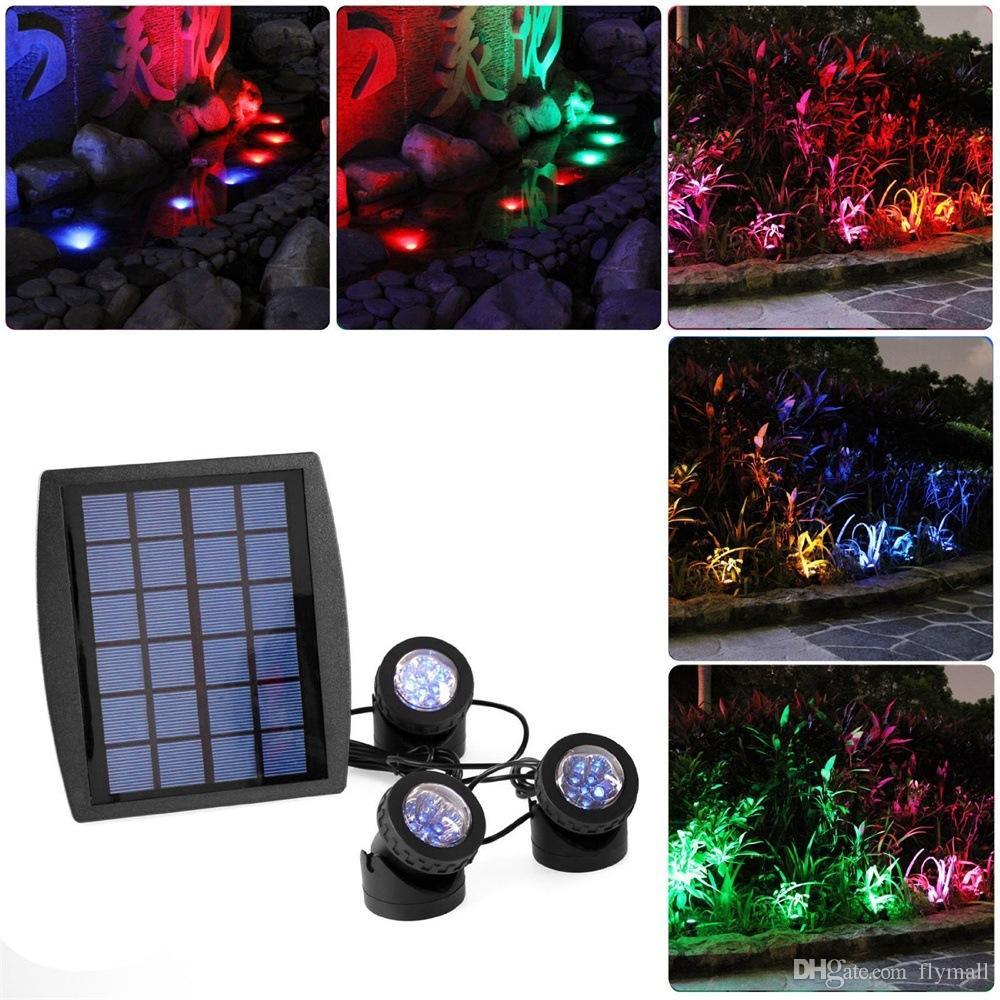 3*6 LED Solar Powered Lamp 18Led Spot Light Sensor RGB Underwater Light Spotlight for Pool Ponds Lamp Outdoor Yard Path Garden Lawn Light