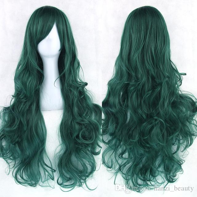 hanzi_beauty new 20colors 80cm Long Curly Hair Green Cosplay Wigs Heat Resistant Synthetic Hair Accessories Party Black Wig for Women