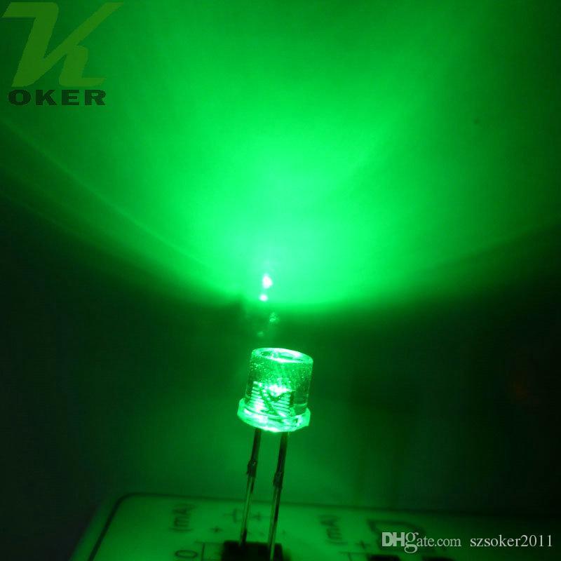 1000pcs 5mm Verde Top Flat Top Water Clear LED Light Light Light Emitting Diodo Ultra Bright Plug-in Plug-in Kit fai da te Pratica grandangolare