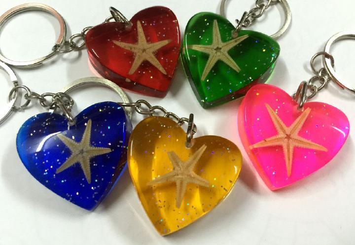 Livraison gratuite 10 pcs étoile de mer véritable insecte bijoux cool mélangé coloré porte-clés