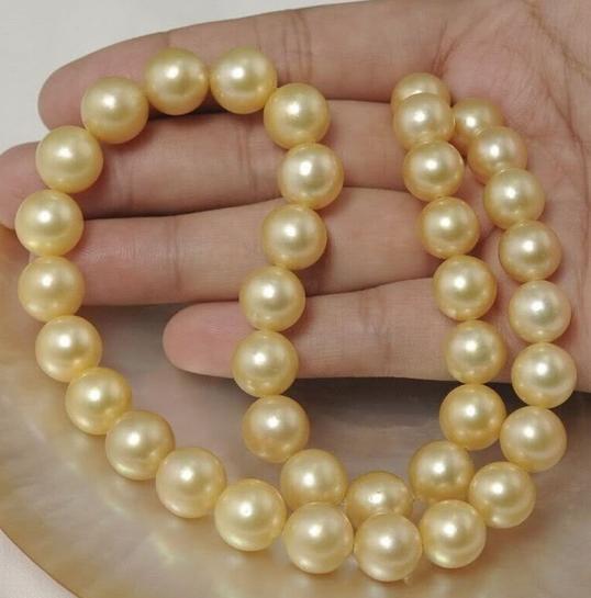 Klassische natürliche runde 10-11 mm Südsee Gold Perlenkette 18 Zoll 14 Karat Gold Verschluss