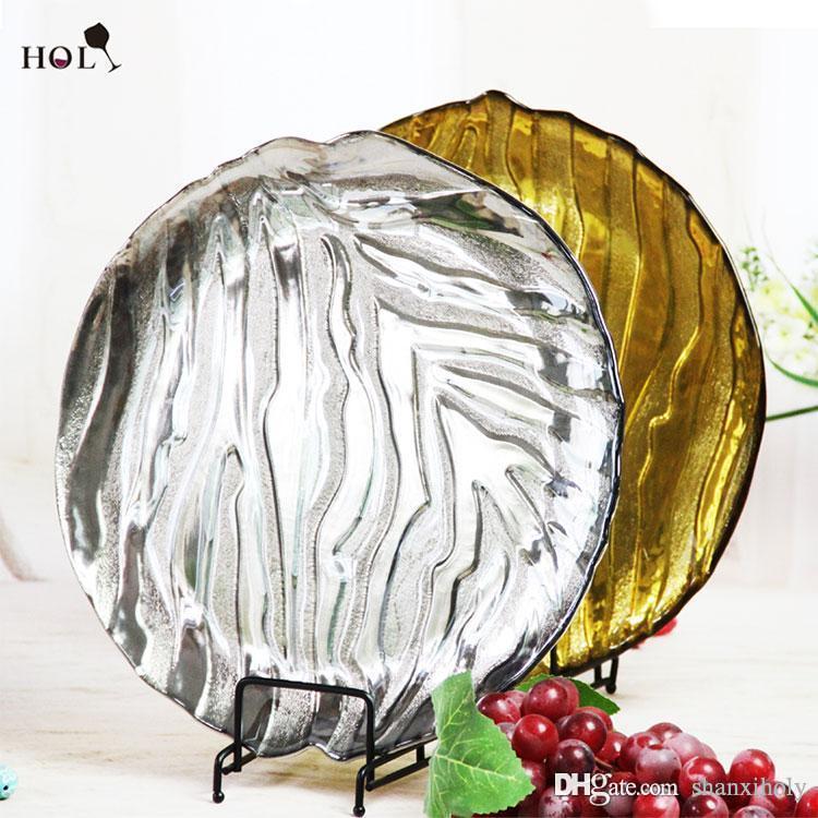 China-Hochzeits-dekoratives geprägtes Blumenmuster-Glas unter Platte