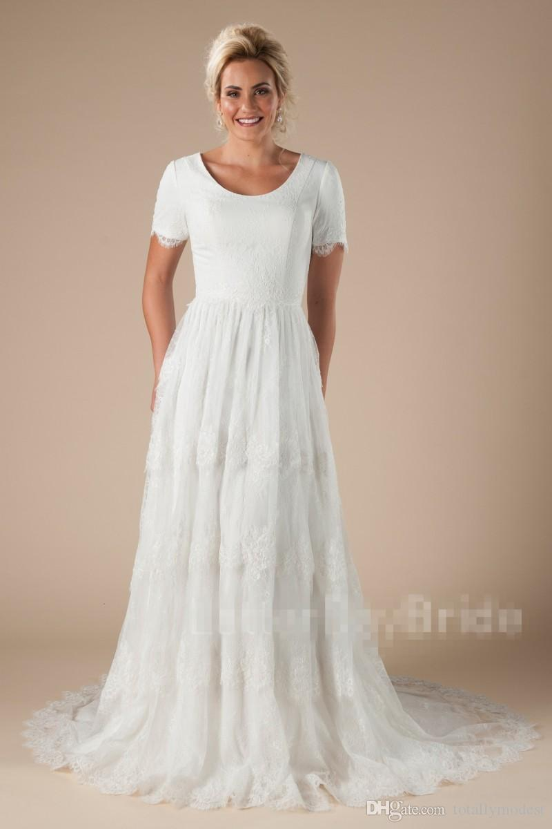 New Vintage Boho Lace Modest Wedding Dresses With Short Sleeves A-line Simple Temple LDS bridal Gowns Custom Made Couture Custom Made