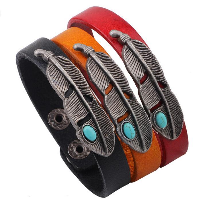 2016 summer European and American fashion hot original Korean jewelry leather bracelet alloy turquoise feathers bracelet